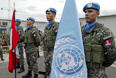 Personal de paz de las Naciones Unidas de nacionalidad peruana en la Misión de Estabilización de las Naciones Unidas para Haití (MINUSTAH).