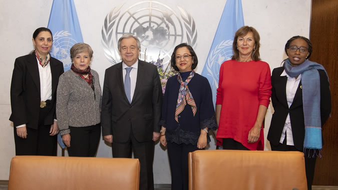 António Guterres, UN Secretary-General, along with all the heads of the Organization's Regional Commissions. For the first time in history, all of them are women.