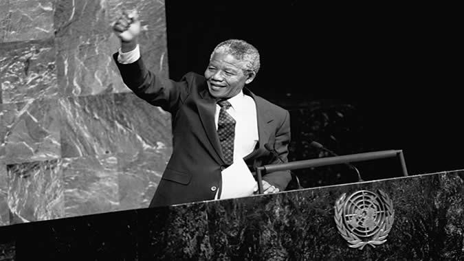 Nelson Mandela en la Asamblea General de las Naciones Unidas.