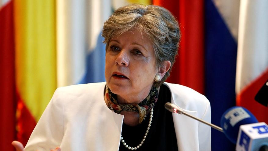 Alicia Bárcena, Secretária Executiva da CEPAL, durante a apresentação do relatório
