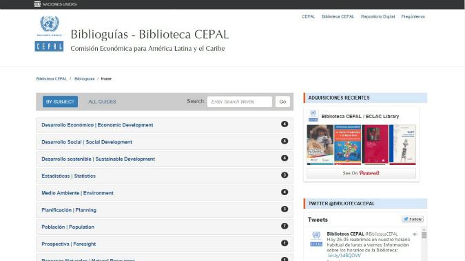 Screenshot of the Biblioguias website