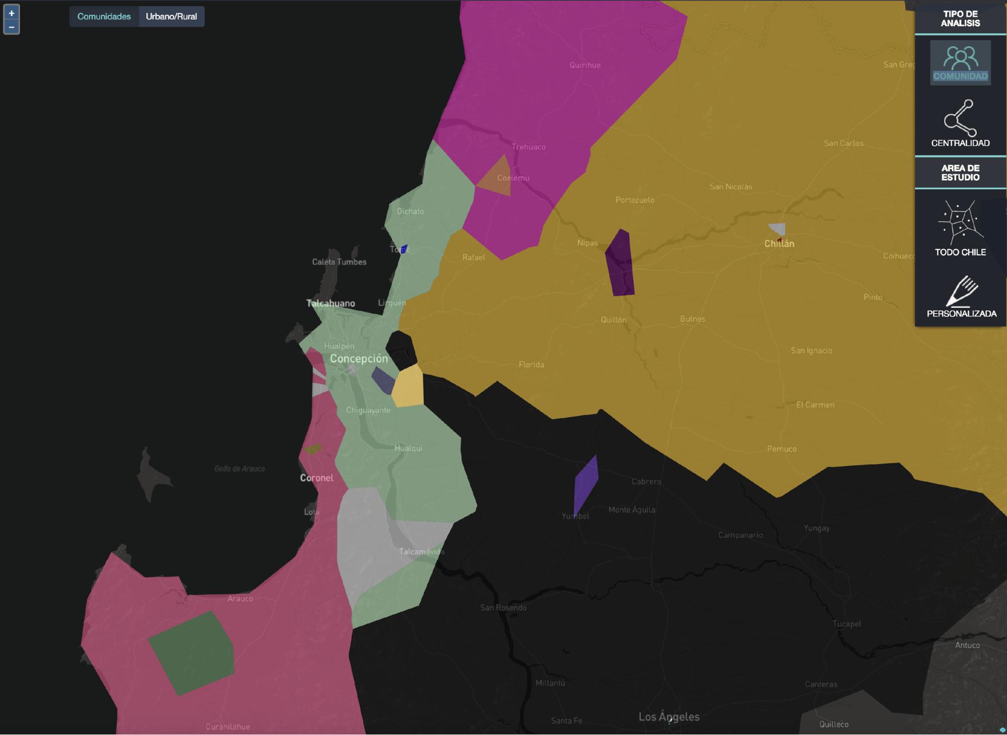 Visualización de la segregación de Concepción y sus alrededores