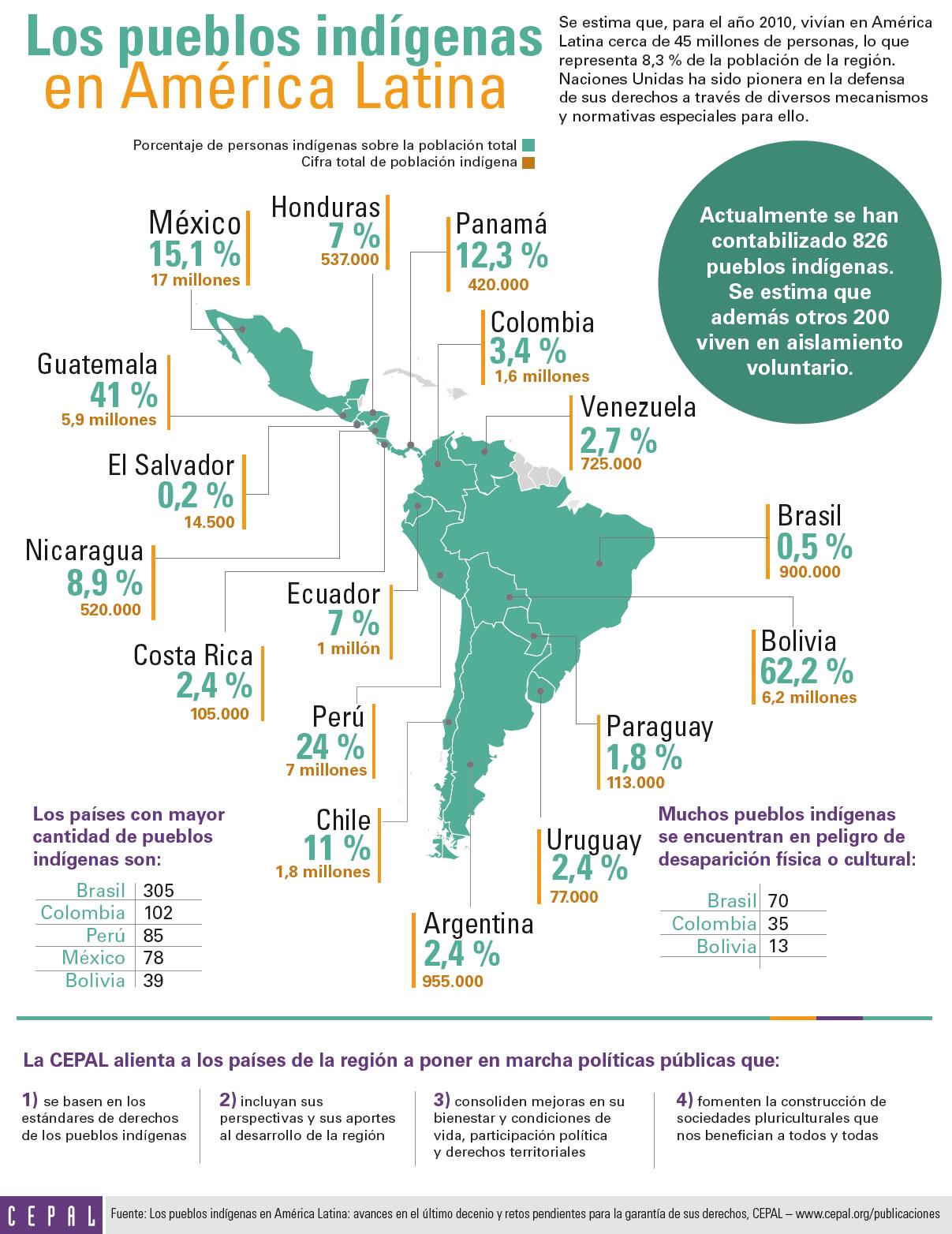 Imagen de la infografía sobre los pueblos indígenas en América Latina