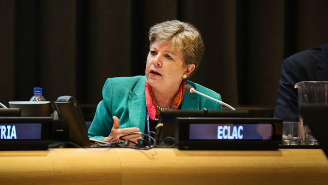 Alicia Bárcena, Executive Secretary of ECLAC, during the side event of UN-Habitat in the HLPF 2018
