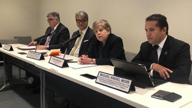 Alicia Bárcena, ECLAC Executive Secretary (center) during her presentation at the meeting