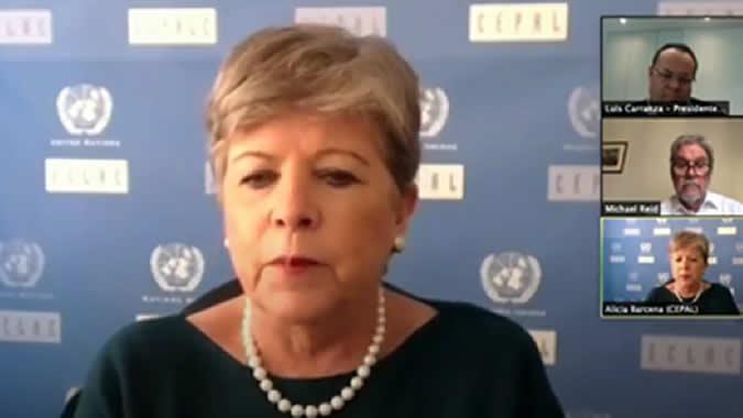 Alicia Bárcena, ECLAC Executive Secretary, during her presentation.