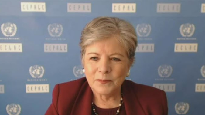 Alicia Bárcena, ECLAC Executive Secretary, during her presentation.
