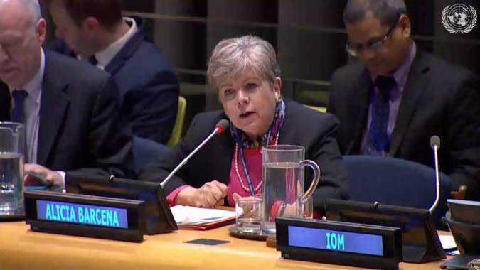 Alicia Bárcena, Secretaria Ejecutiva de la CEPAL, durante la reunión efectuada en Nueva York