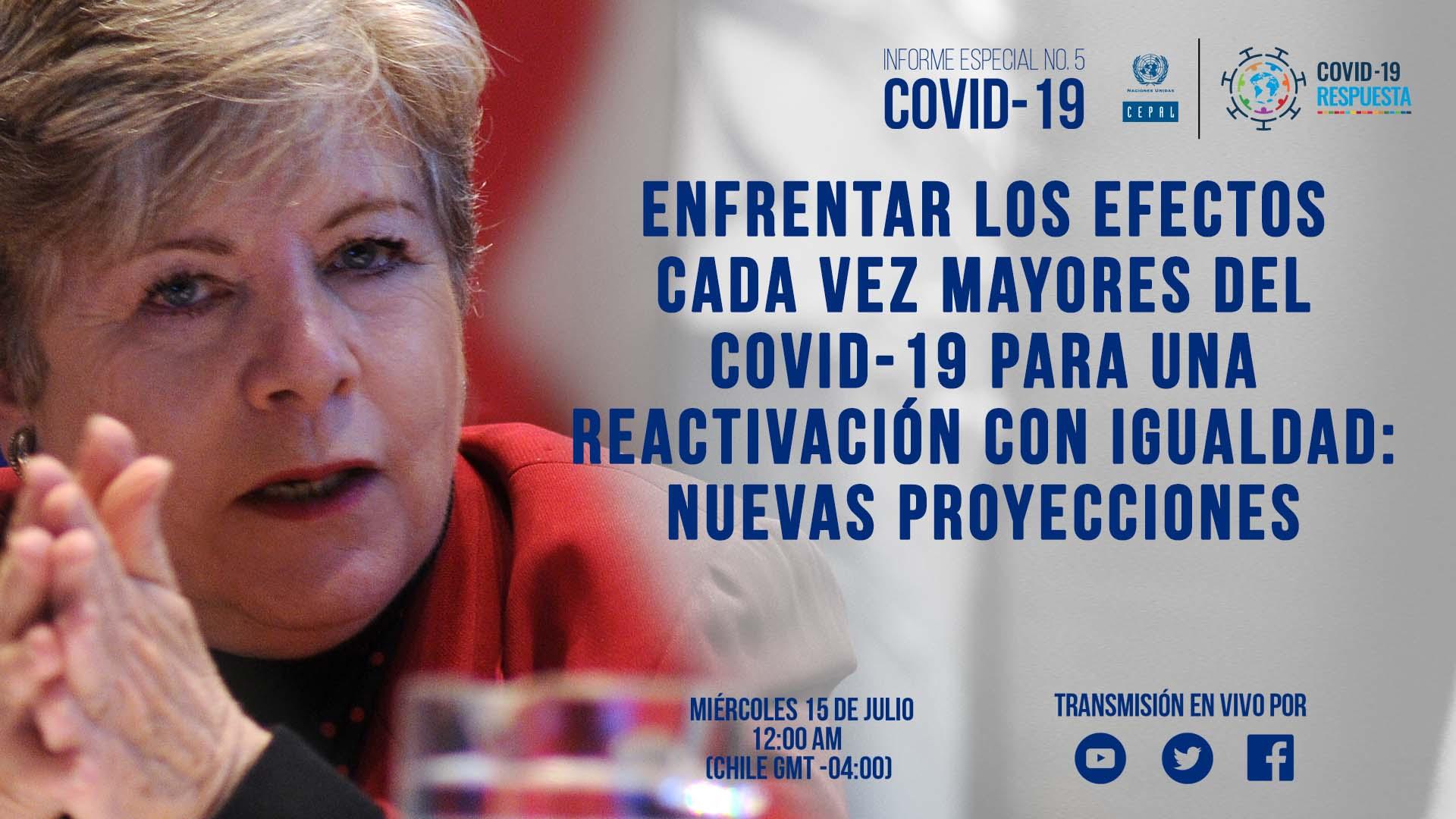 Banner Alicia Bárcena lanzamiento Informe especial COVID-19 No. 5