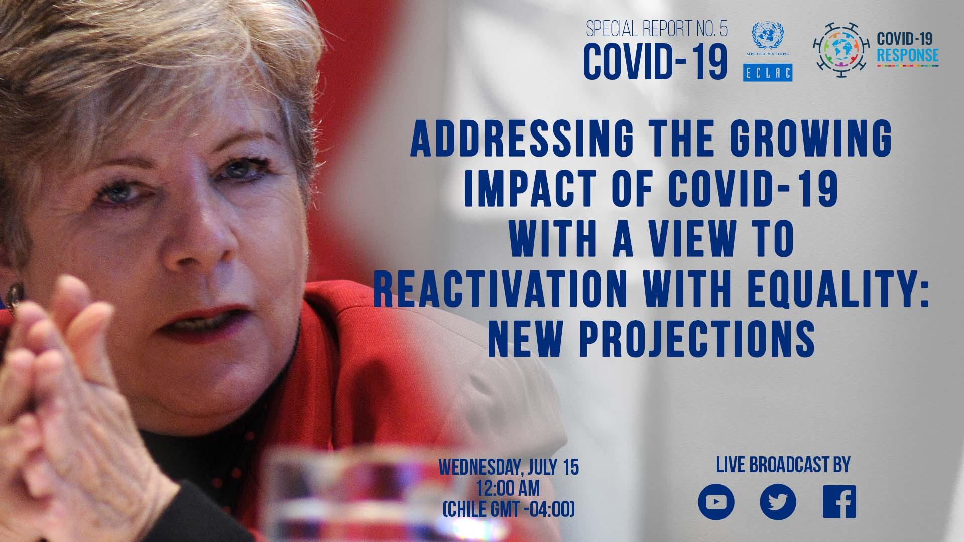 Banner annoucemente Special Report COVID-19 No. 5 Alicia Bárcena