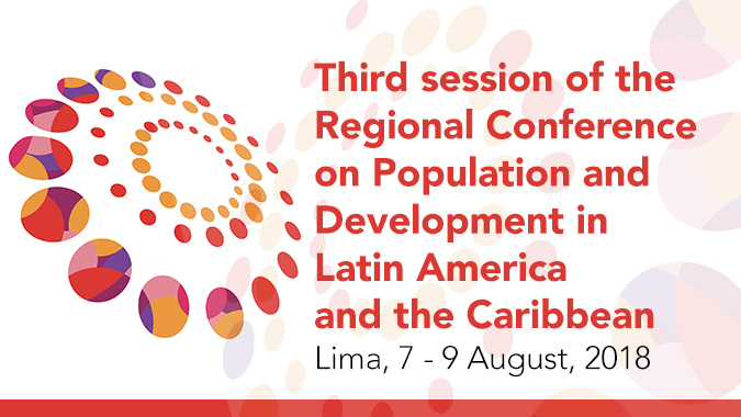 Banner third session of the Regional Conference on Population and Development in Latin America and the Caribbean.