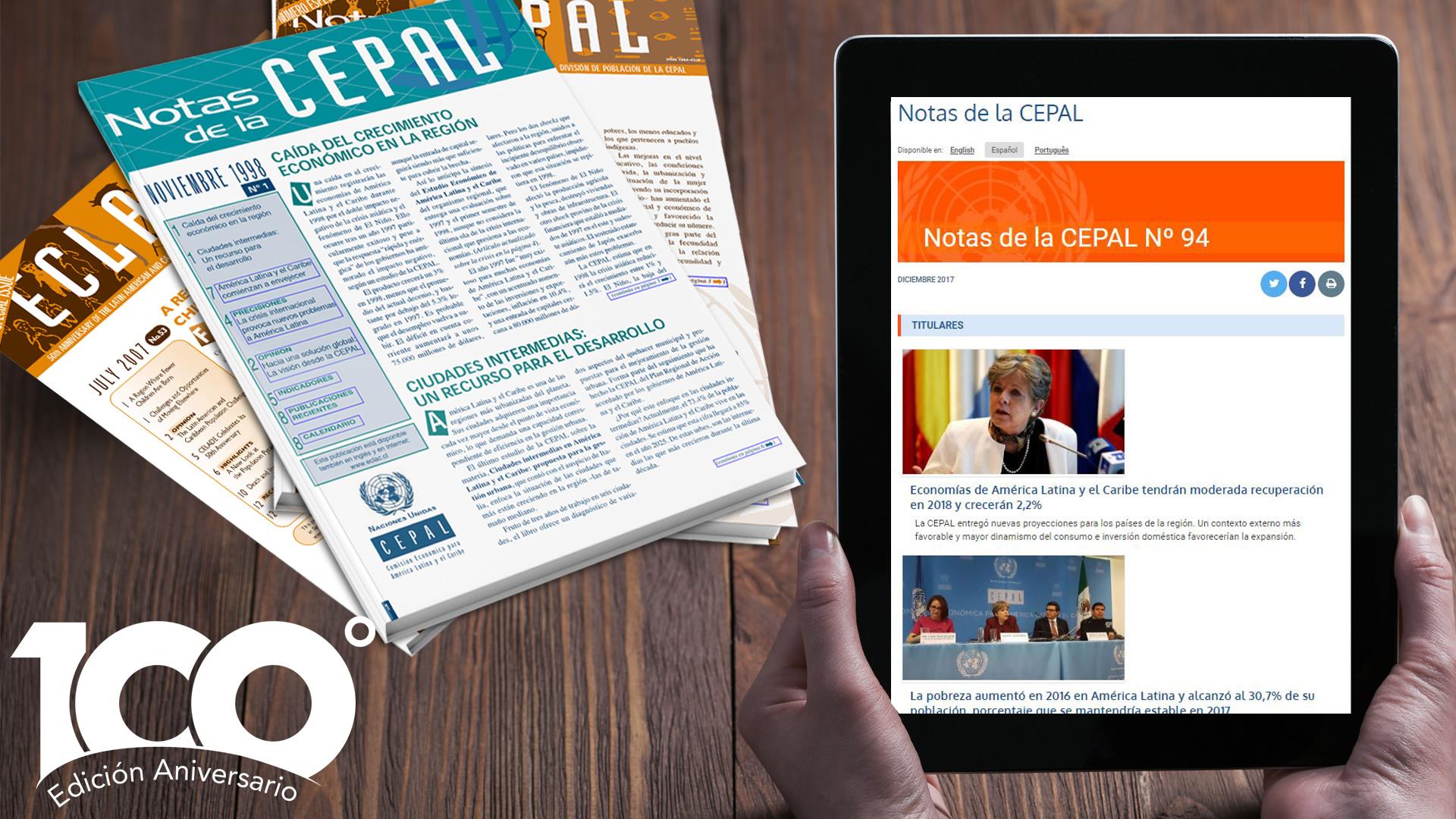 Banner Notas de la CEPAL 100, Edición Aniversario