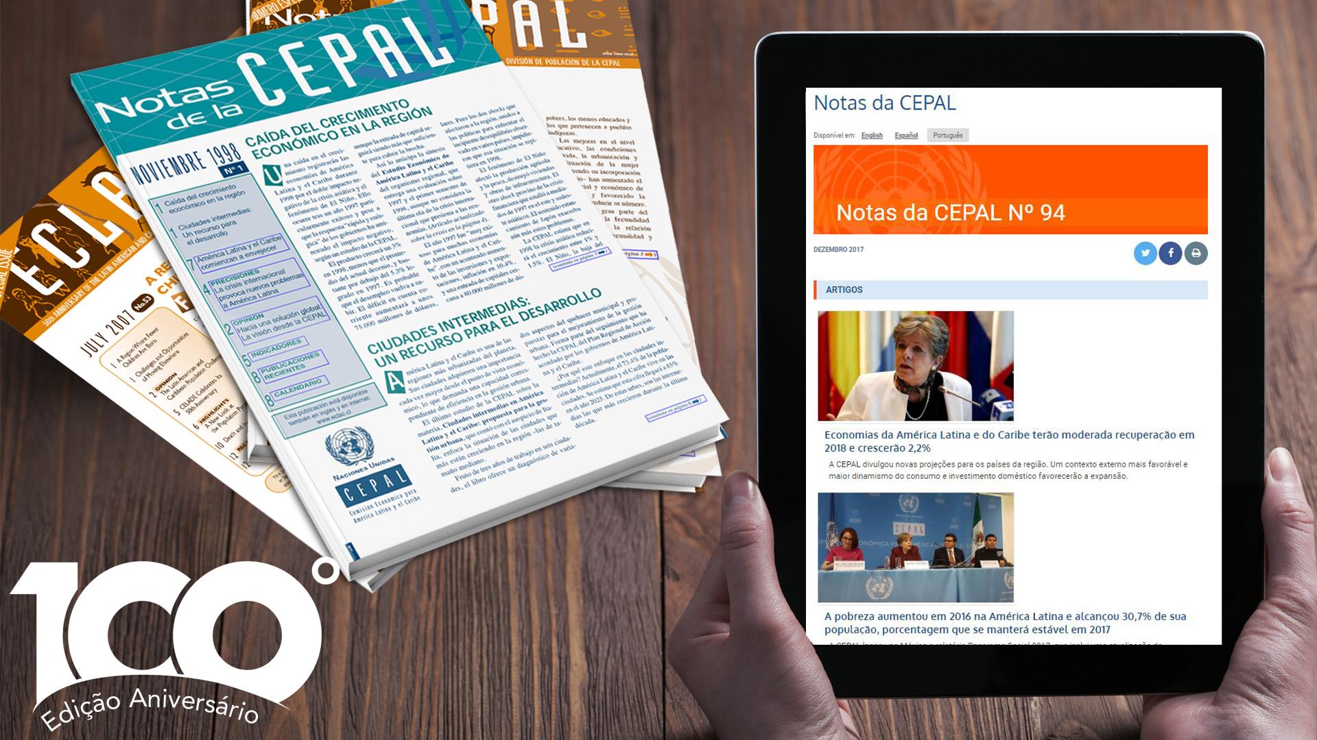 Banner Notas da CEPAL 100, Edição Aniversário