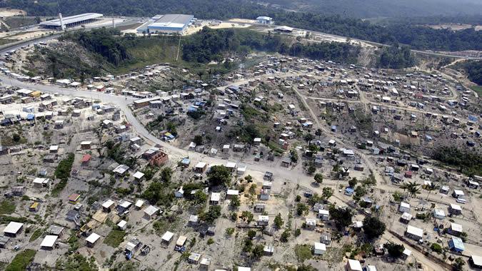 Imagen aérea de asentamientos de viviendas en Brasil.