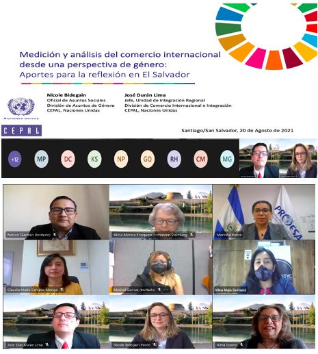 """La CEPAL contribuye a los esfuerzos de medición y análisis del comercio internacional desde una perspectiva de género en el """"Primer Encuentro sobre Estadísticas de Comercio y Género en El Salvador, 2021"""""""