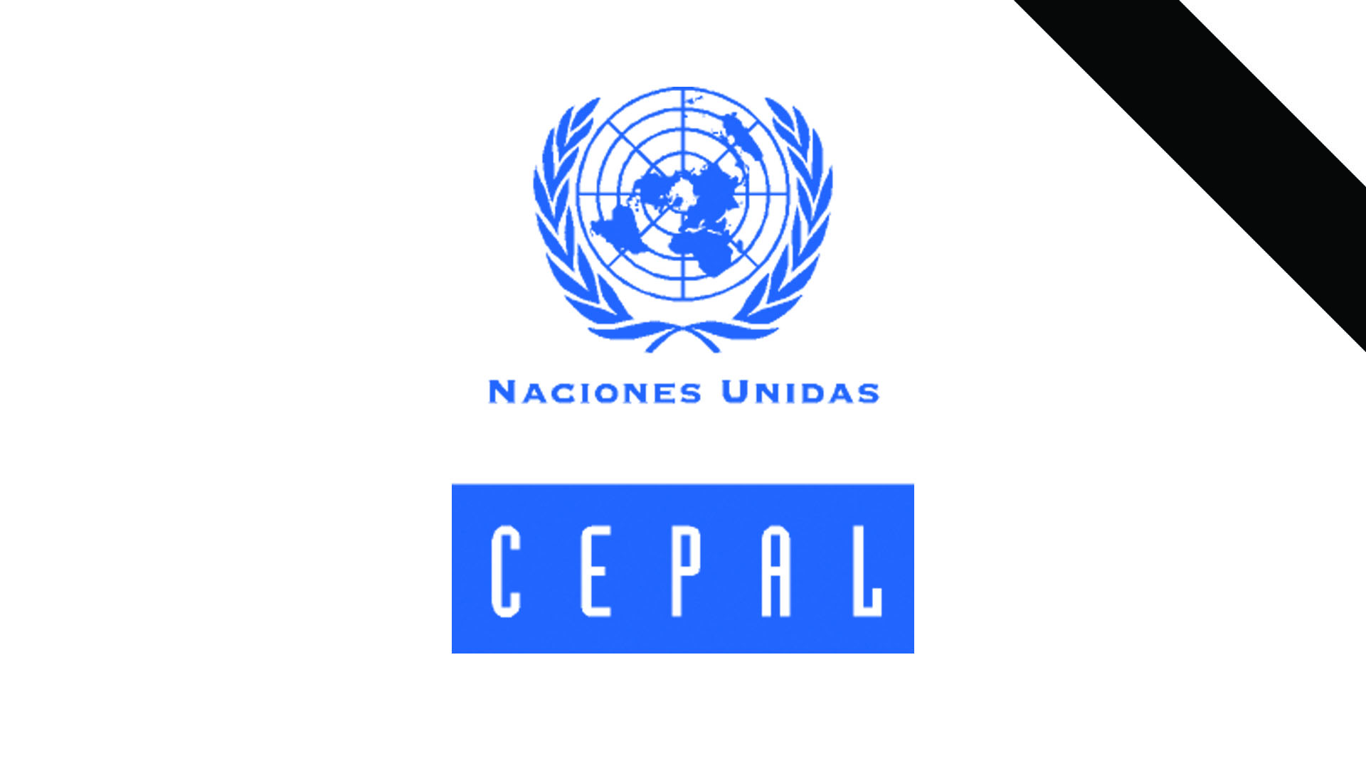 Logo de la CEPAL con banda negra de luto.