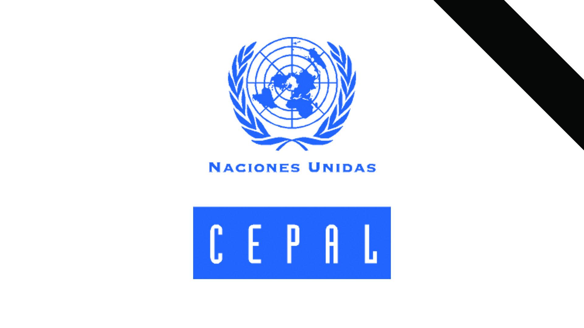 Logo de la CEPAL con franja negra en señal de luto.