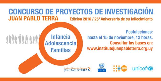 Afiche del concurso sobre proyectos de investigación Juan Pablo Terra.
