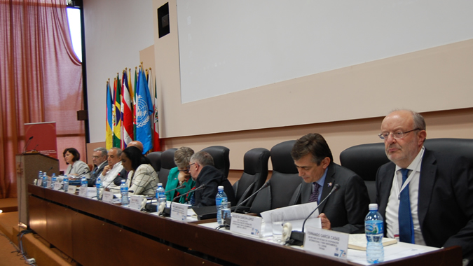 Participants in the South-South Cooperation Committee meeting at ECLAC's 37th Session