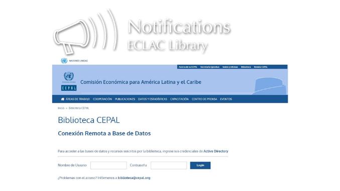Login Page of EZProxy Platform - ECLAC Library