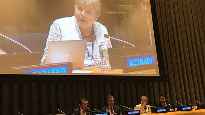 Alicia Bárcena speaks in a side event to the High-level Political Forum.