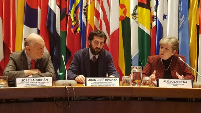 De izquierda a derecha: José Sarukhán, Coordinador Nacional de CONABIO-México, Juan José Donoso, Jefe de la División de Recursos Naturales y Biodiversidad del Ministerio de Medio Ambiente de Chile; y Alicia Bárcena, Secretaria Ejecutiva de la CEPAL.
