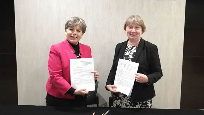Alicia Bárcena, Executive Secretary of #ECLAC, and Christiane Bögemann-Hagedorn, Deputy Director General for Latin America of Germany's Federal Ministry for Economic Cooperation and Development (BMZ) in Lima.