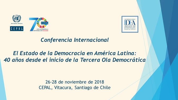 Banner conferencia sobre el estado de la democracia en América Latina