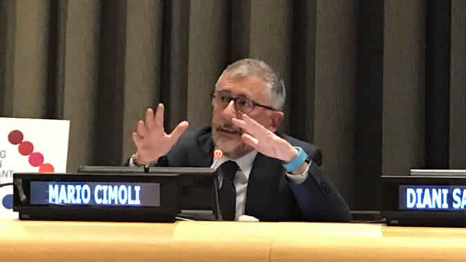 Mario Cimoli, ECLAC's Deputy Executive Secretary, during his presentation at the United Nations headquarters in New York