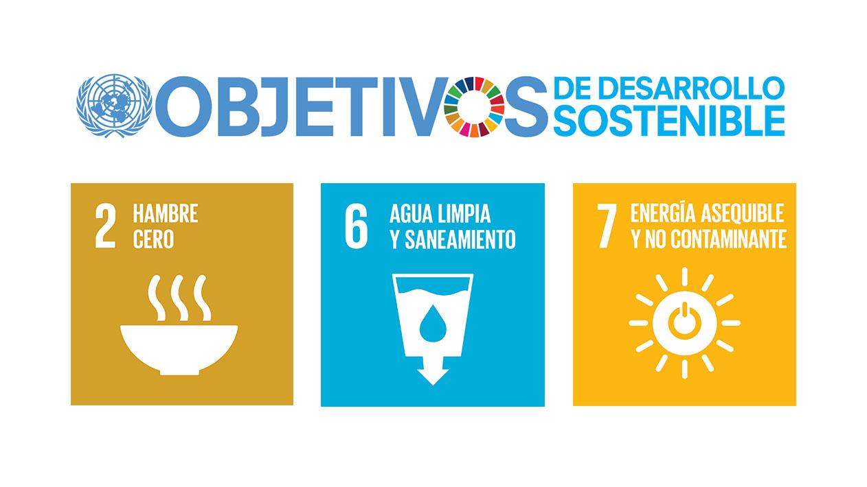 Logo Programa Objetivos de Desarrollo Sostenible - Objetivo 2: Hambre Cero - Objetivo 6: Agua Limpia - Objetivo 7: Energía Asequible y no Contaminante