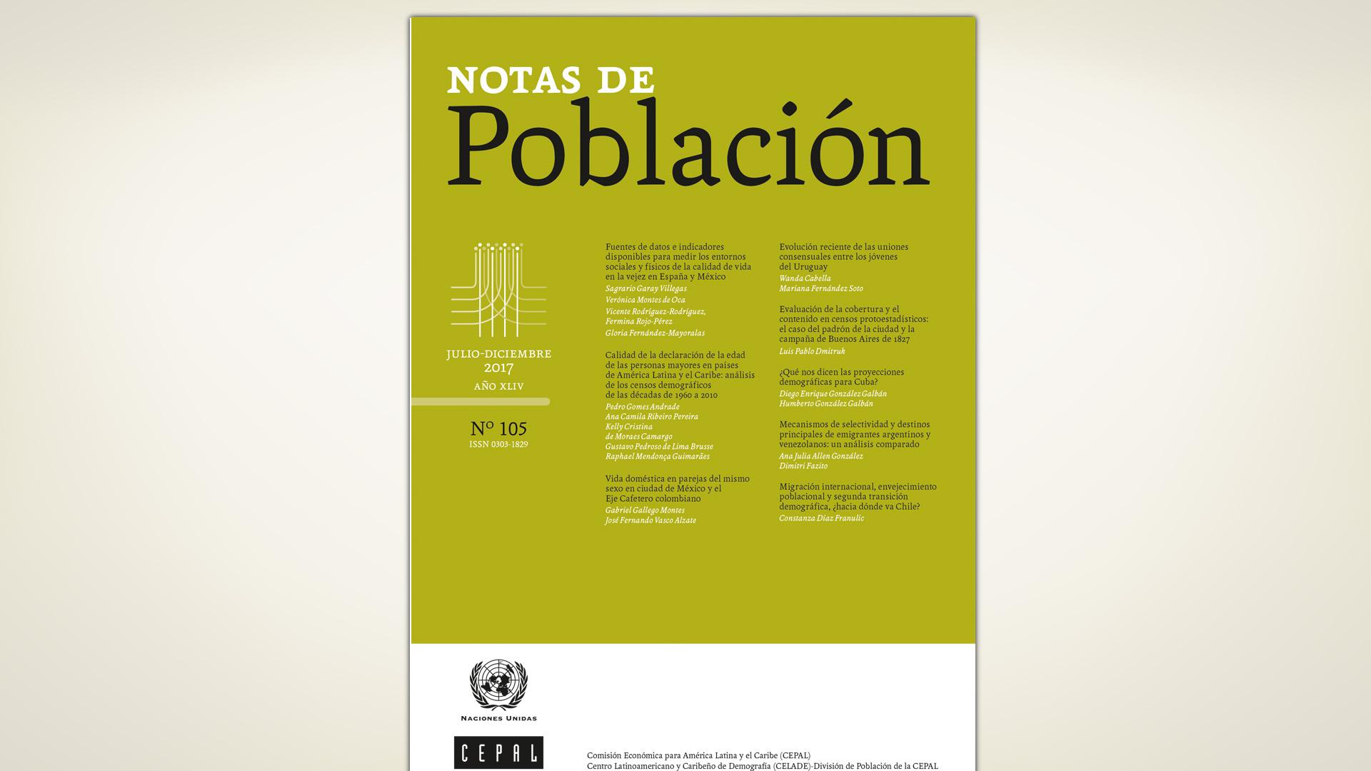 Portada de la Revista Notas de Población número 105.