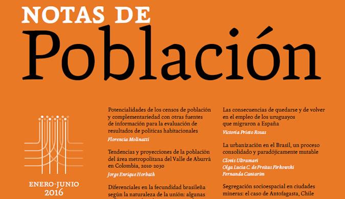Portada de la edición 102 de la revista Notas de Población de la CEPAL.