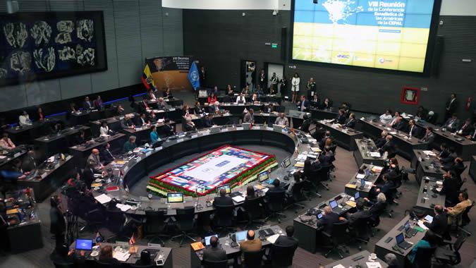 Imagen de la sala donde se celebró la VIII Reunión de la Conferencia Estadística de las Américas.