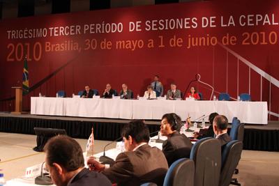 El Trigésimo-tercer Período de Sesiones de la CEPAL fue inaugurado hoy en Brasilia.