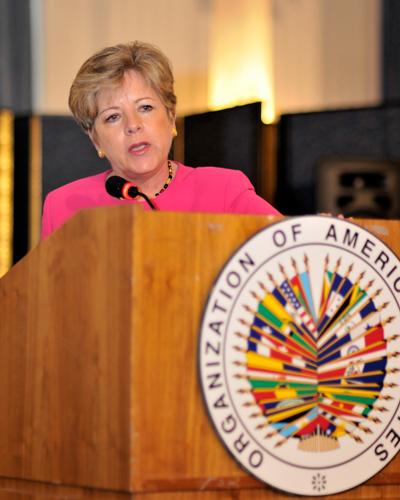 Alicia Bárcena, Secretaria Ejecutiva de la CEPAL, realizó la exposición sobre el informe interagencial 2010 de los ODM en América Latina y el Caribe, en la sede de la OEA en Washington.