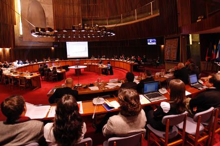 Vista general de la sala de conferencias Raúl Prebisch, en la sede de la CEPAL, donde se realizó la reunión.