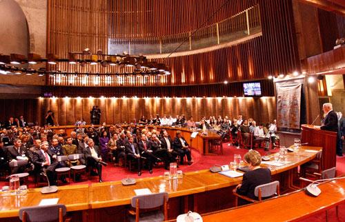 Vista general de la sala Raúl Prebisch de la CEPAL, donde Presidente de Panamá ofreció una conferencia magistral.