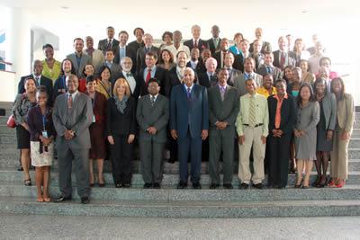 Delegados asistentes a la segunda Mesa sobre el desarrollo del Caribe, realizada en Georgetown, Guyana.