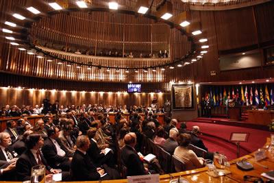 Vista general de la sala Raúl Prebisch, de la CEPAL, en donde el Primer Ministro de China, Wen Jiabao, ofreció una conferencia magistral el martes 26 de junio de 2012.
