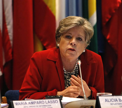 Alicia Bárcena, ECLAC Executive Secretary, during the launching of the report Preliminary Overview of the Economies of Latin America and the Caribbean 2013.