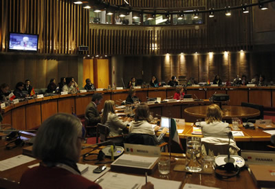 La reunión tuvo lugar en la sala de conferencias Raúl Prebisch en la sede de la CEPAL en Santiago de Chile.