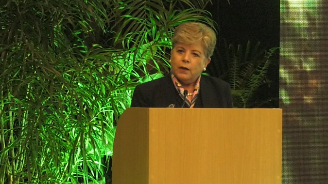 Alicia Bárcena, ECLAC's Executive Secretary, during her presentation.