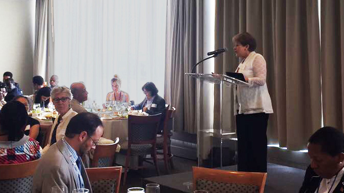 Alicia Bárcena, ECLAC Executive Secretary, during her presentation at the African-Caribbean Cross-Regional Exchange, held in New York.