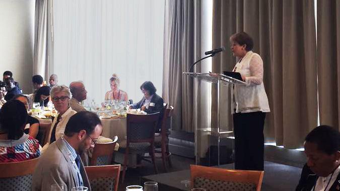 Alicia Bárcena, Secretaria Ejecutiva de la CEPAL, durante su presentación en el diálogo sobre Africa y el Caribe, realizado en Nueva York.