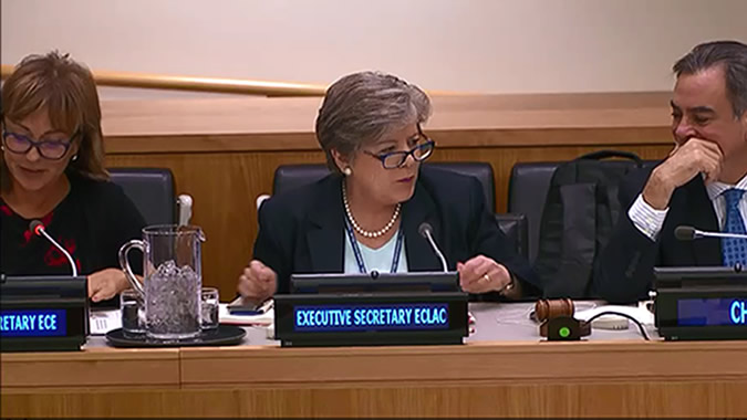 ECLAC Executive Secretary Alicia Bárcena during the dialogue held in New York.