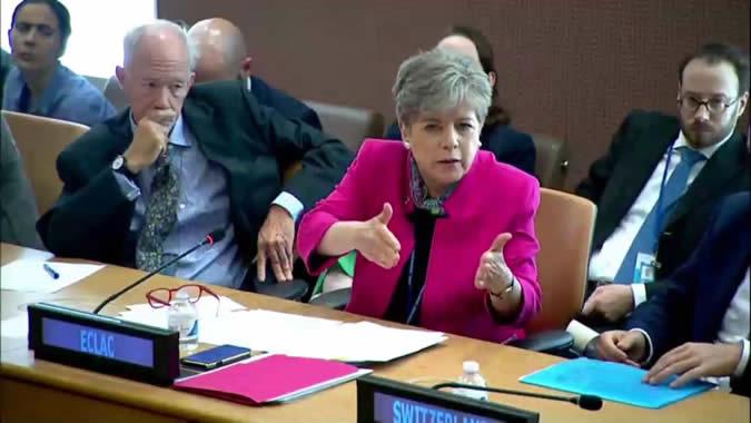 Alicia Bárcena, Secretaria Ejecutiva de la CEPAL, durante su intervención en la reunión.