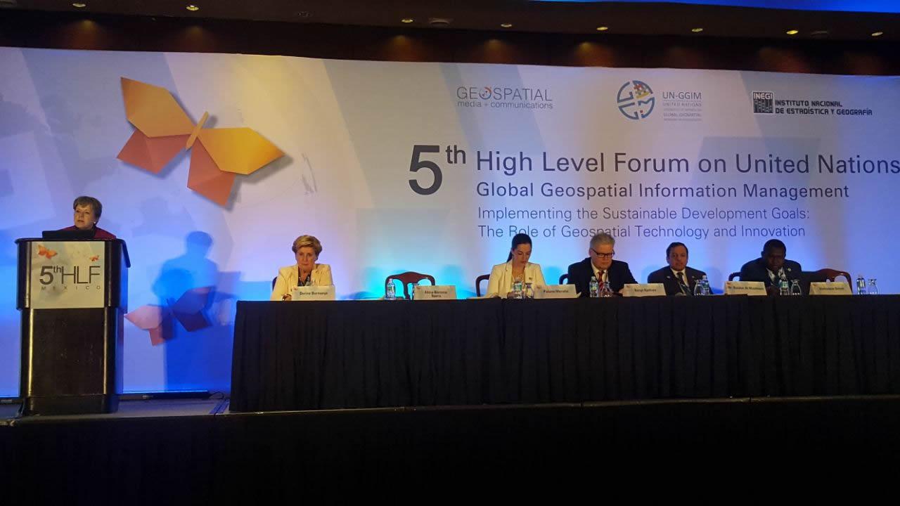 Alicia Bárcena, ECLAC's Executive Secretary during the Fifth High Level Forum on United Nations Global Geospatial Information Management (UN-GGIM).