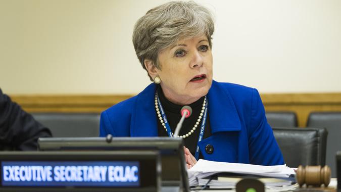 Alicia Bárcena, Secretaria Ejecutiva de la CEPAL, en la sesión especial del ECOSOC realizada en Nueva York el martes 24 de octubre de 2017.