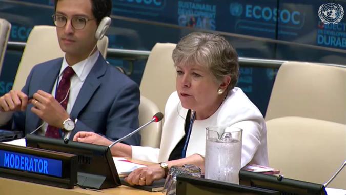 Alicia Bárcena, Secretaria Ejecutiva de la CEPAL, durante su presentación en la sede de la ONU de Nueva York