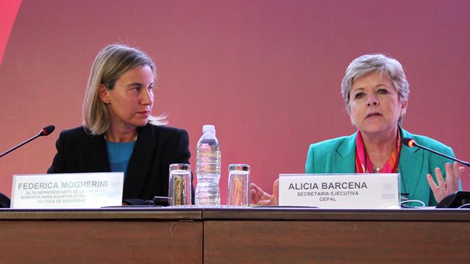Federica Mogherini and Alicia Bárcena